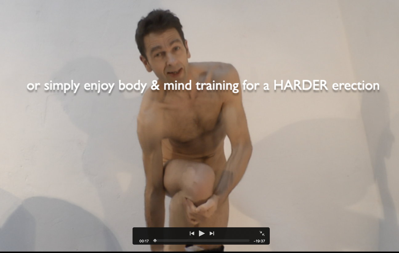Erection Coach getting naked to demonstrate erection training in video
