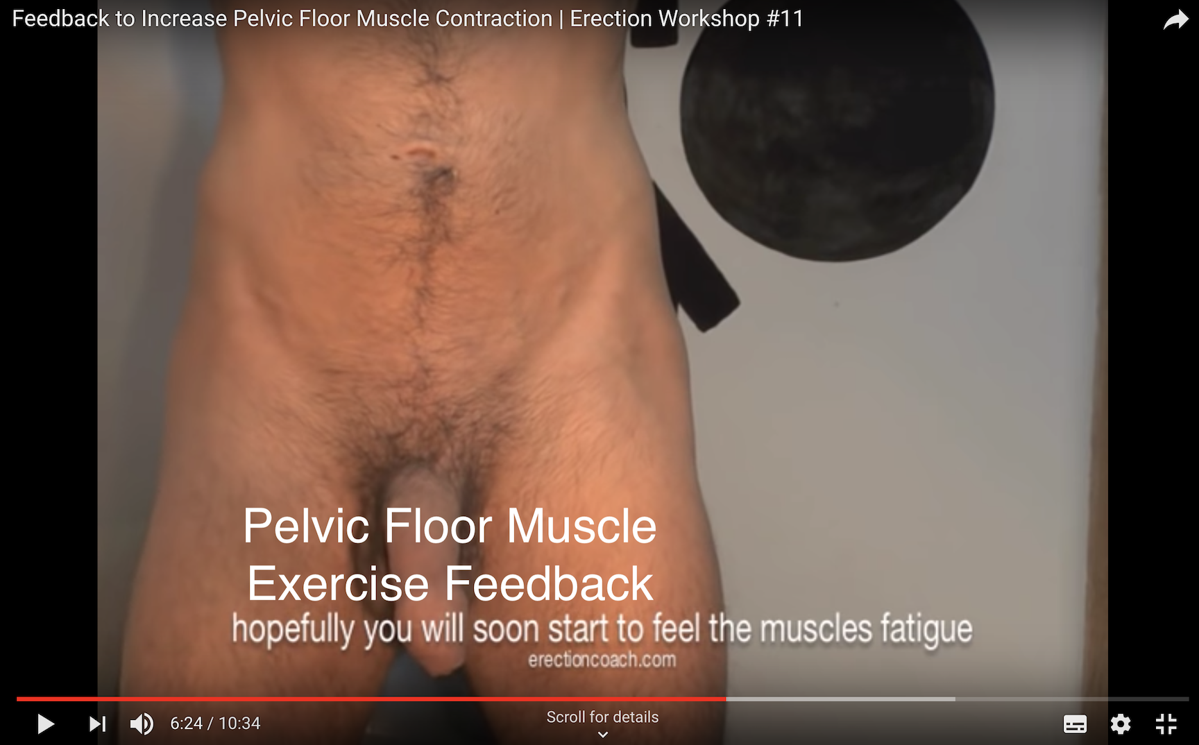 naked trainer showing base of penis movement as a result of pelvic floor exercise